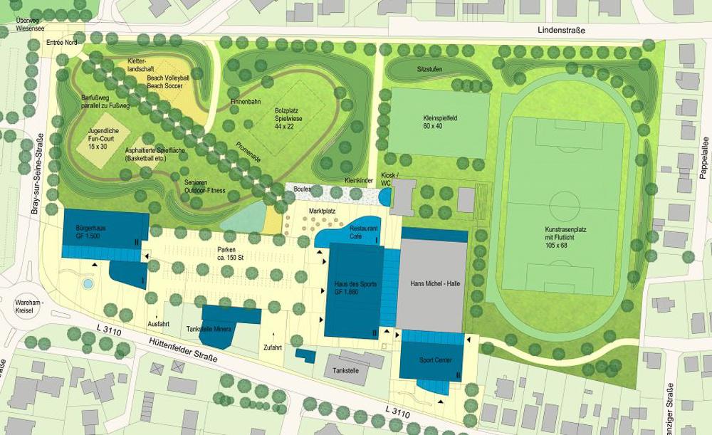 Die Planung, wenn die Hans-Michel-Halle erhalten bleibt und teilmodernisiert wird. Foto: Eichler + Schauss